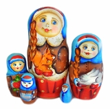 "5 Nested Matreshka Wooden Dolls ""Squirrel"""