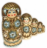 "5 Nested  Matrioshka  Woodburn Doll ""Floral"" Design With Gold"