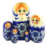 "Matreshka 5 Nesting Doll, Hand Painted, ""Floral"" Design"