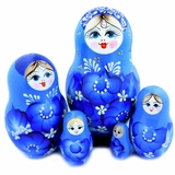 "5 Nesting Wood  Matrioshka Blue Dolls ""Floral"" Style, Hand Painted"