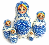 5 Nested Wooden Matreshka Doll, White and Blue