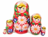 "5 Nesting Wooden Matrioshka Dolls, ""Camomile"" Design, Assorted Colors"