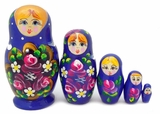 "5 Nesting Wooden Matreshka Dolls, ""Floral"" Design, Hand Painted, Blue"