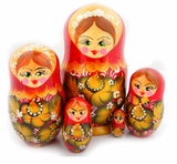 "5 Nested Wooden Matrioshka Dolls, ""Floral"" Design, Hand Painted, Red"
