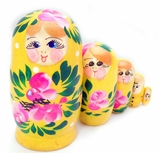 "5 Nested Wooden Matrioshka Dolls, ""Floral"" Design, Hand Painted, Yellow"