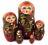 "5 Nested Wooden Matreshka Dolls, ""Strawberries"" Design"