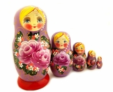 "5 Nesting Matreshka Dolls ""Beautiful Eyes"", Floral Design, Purple"