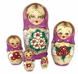 5 Nesting Matreshka Dolls, Wood Burn, Pink