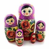 "5 Nesting Matreshka Linden Wood Dolls, ""Floral"" Design, Purple"