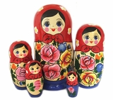 "5 Nesting Matreshka Linden Wood Dolls, ""Floral"" Design, Red"