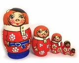 "5 Nesting Matreshka Wooden Dolls, ""Boy Family"""