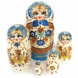 "5 Nesting Matreshka Wooden Dolls ""Cute Face"", Blue"