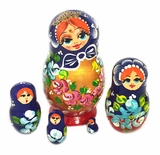 "5 Nesting Matreshka Wooden Dolls ""Cute Face"""