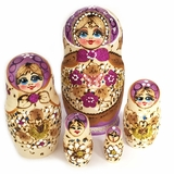 "5 Nesting Matreshka Wooden Dolls ""Cute Face"", Purple"