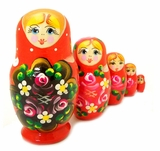 "5 Nesting Wooden Matreshka Dolls, ""Floral"" Design, Hand Painted, Red"