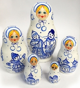 "5 Nesting Wooden Matreshka Dolls, ""Winter"", Hand Painted"
