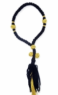 50 Flush Knot  Black/Gold Prayer Rope from Greece, 10 1/2""
