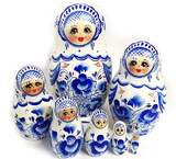7 Nested Wooden Matreshka Doll, White and Blue
