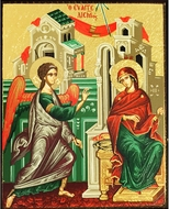 Annunciation of Virgin Mary, Serigraph Mini Icon, Bronze Leaf
