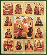 Annunciation of Virgin Mary, Surrounded with Orthodox  Icons  of  Theotokos