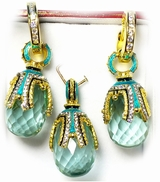 Aquamarine Set of Earrings with Egg Pendant,  Silver, Gold Plated