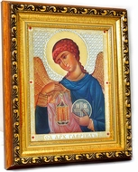 Archangel Gabriel (GAVRIIL), Framed Orthodox  Icon with Crystals and Glass