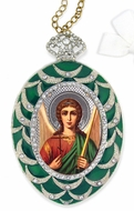 Archangel Michael,  Framed Icon  Ornament,  Egg Shaped