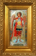Archangel Michael, Framed Panel  Icon  with Crystals and  Glass