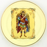 Archangel Michael Hanging Icon Plate, 24 KT Gold