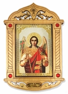 Archangel Michael Icon  in Wooden Shrine