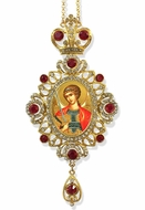 Archangel Michael,  Jeweled Icon Ornament / Red Crystals