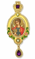 Archangel Michael,  Jeweled Icon Ornament, Yellow Frame & Purple Crystals