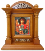 Archangel Michael, Kiot  Icon  in Wood Shrine with Glass