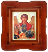 Archangel Michael, Orthodox Christian Icon in Open Up Wood Kiot With Glass