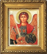 Archangel Michael, Orthodox Framed Icon with Crystals and Glass