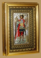 Archangel Michael, Orthodox Icon with Crystals in Gilded Kiot