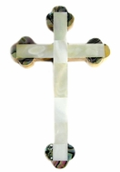 Bethlehem Olive Wood Cross With Mother Of Pearl  Decoration