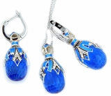 Blue Topaz  Set of Earrings with Egg Pendant,  Silver, Gold Plated
