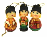 """BOYS with HATS"",  Wooden  Christmas Ornaments, Set of 3"