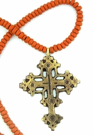 Bronze Cross With  Beaded Clay Ceramic Chain
