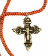 Bronze Cross With Corpus Crucifix and Beaded Clay Ceramic Chain