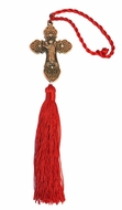 Bronze Tone Metal  Cross with Guardian Angel and Red Tassel
