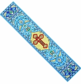 Byzantine Cross,  Tapestry  Icon  Book Marker, Blue