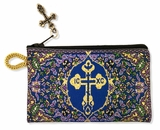 Byzantine Cross, Tapestry Pouch Case Purse, Purple / Blue / Gold