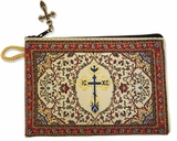 Byzantine Cross, Tapestry Pouch Case Purse, Red
