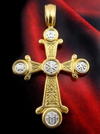 Byzantine  Engraved  Chi-Rho Cross, Sterling Silver 925,  Gold Plated