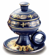 Ceramic Incense Burner with Top, Blue