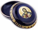 Ceramic Keepsake Jewelry Rosary  Icon  Case, Navy Blue