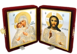 Christ Almighty and Virgin of Vladimir Traveling Wedding Icon Diptych