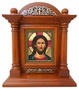 Christ Almighty, Kiot  Icon  in Wood Shrine with Glass